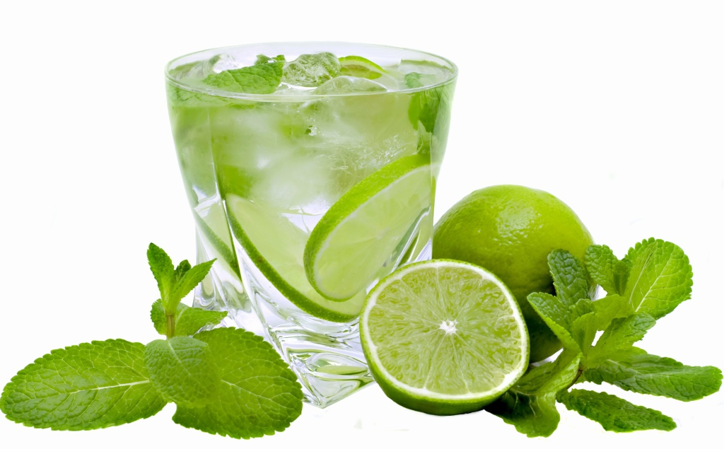 mojito, limes and mint isolated on a white background